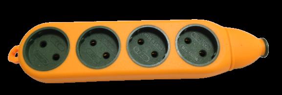 Колодка 1-стороння прорез.УДАРОСТІЙКА 4-гн оранж+зелен.(200шт/ящ) R
