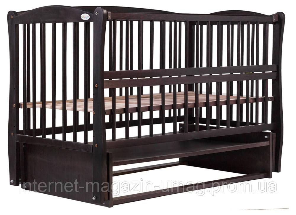 Кровать Babyroom Еліт резьба, маятник, откидной бок DER-6  бук венге