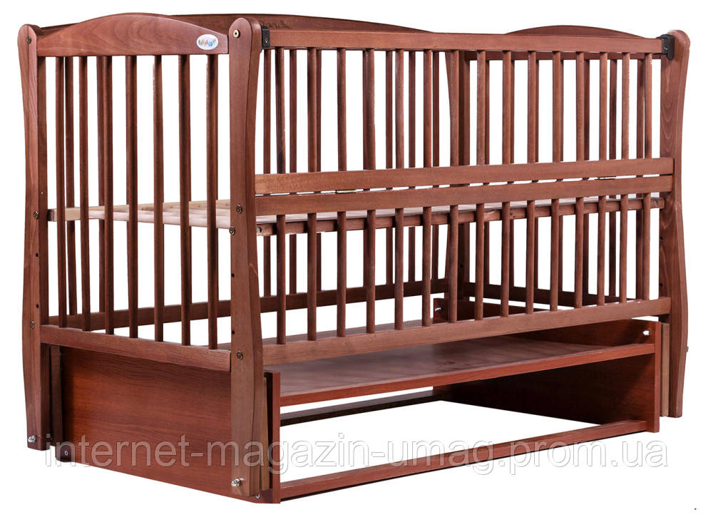 Кровать Babyroom Еліт резьба, маятник, откидной бок DER-6  бук тик