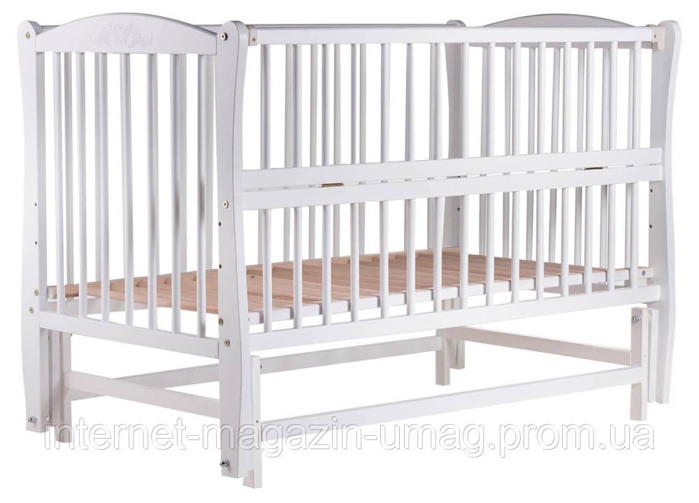 Кровать Babyroom Еліт резьба, маятник, откидной бок DER-6  бук белый