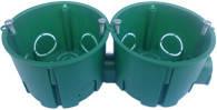 Коробка під електророз.бетон збірна з гвинтами d68  аналог schneider зелен(ціна за1ш)( вид.по 100шт)