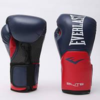 Перчатки боксерские PU на липучке EVERLAST  PRO STYLE ELITE (р-р 16oz, темно-синий-красный), фото 1
