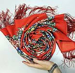 Квітковий роман 1747-5, павлопосадский вовняний шарф з шовковою бахромою, фото 7