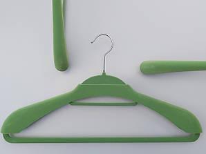 """Длина 46 см. Плечики """"вешалка-трансформер 2 в 1"""" флокированные (бархатные) салатового цвета"""