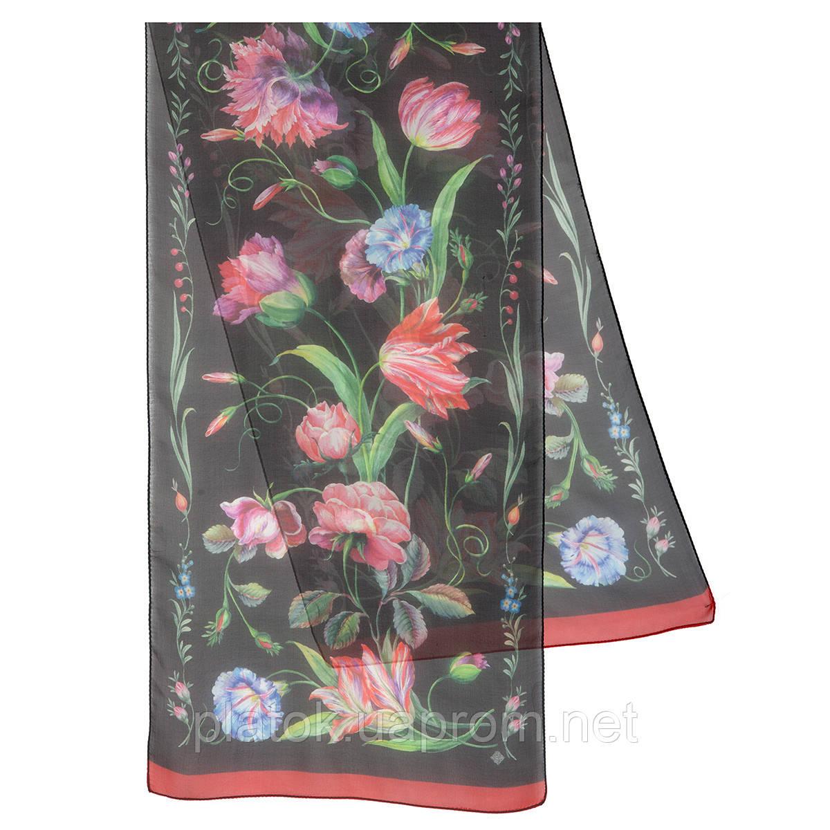 Цветы любви 10011-18, павлопосадский шарф (креп-жоржет) шелковый с подрубкой