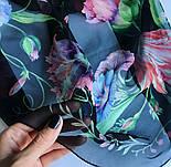 Цветы любви 10011-18, павлопосадский шарф (креп-жоржет) шелковый с подрубкой, фото 3