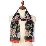 Цветы любви 10011-18, павлопосадский шарф (креп-жоржет) шелковый с подрубкой, фото 2