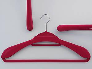 """Длина 46 см. Плечики """"вешалка-трансформер 2 в 1"""" флокированные (бархатные) розового цвета"""
