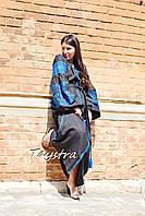 Вышитое черное платье синяя вышивка, этно стиль бохо, Вышиванка платье лен, стильное платье для полных
