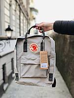 Рюкзак серый с полосатыми ручками мужской женский школьный на 16 литров модный Fjallraven Kanken Канкен