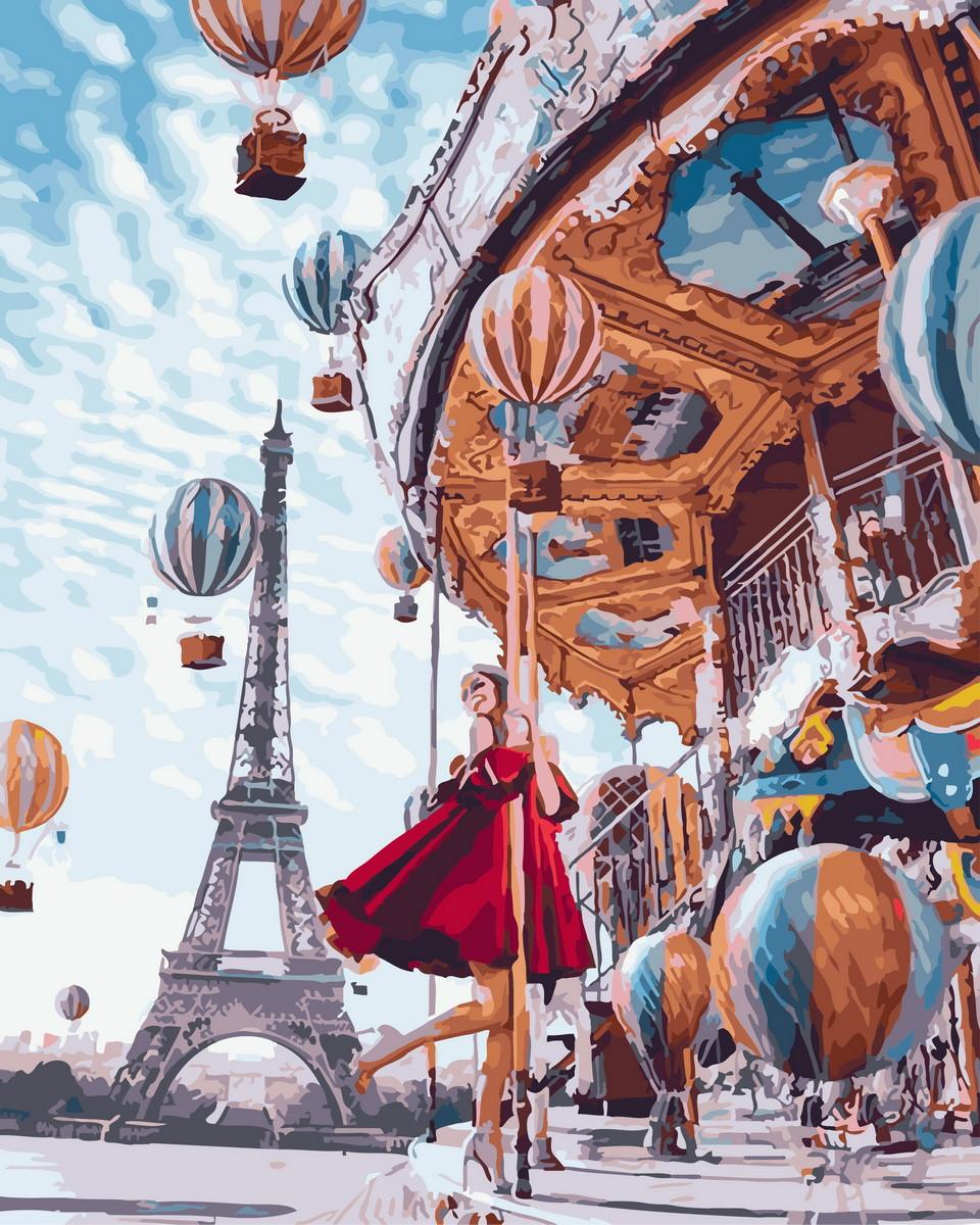 Картина по номерам  Воздушные шары Парижа, 40x50 см., Rainbow art