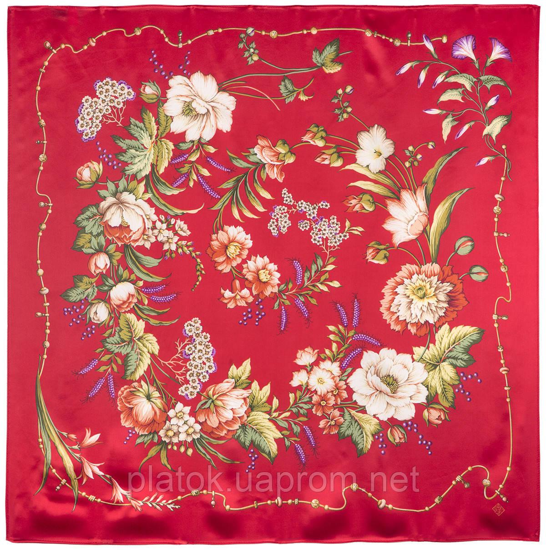 Белый танец 1455-3, павлопосадский платок (атлас) шелковый с подрубкой