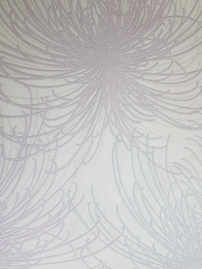 Виниловые обои на флизелине Grandeco COSMO А24305 цветок фейерверк розовый синий на сером фоне точки серебром