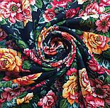 Город роз 1825-18, павлопосадский платок шерстяной  с шелковой бахромой, фото 6