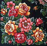 Город роз 1825-18, павлопосадский платок шерстяной  с шелковой бахромой, фото 3