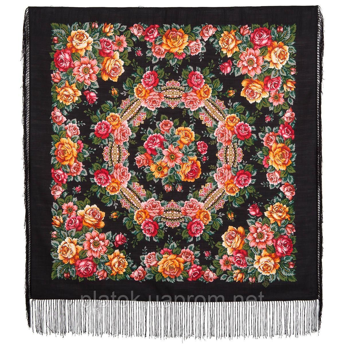 Город роз 1825-18, павлопосадский платок шерстяной  с шелковой бахромой