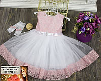 Бальное пышное платье на утренник и праздник от 2 до 6 лет бело-розо�