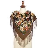 Город роз 1825-16, павлопосадский платок шерстяной  с шелковой бахромой, фото 2