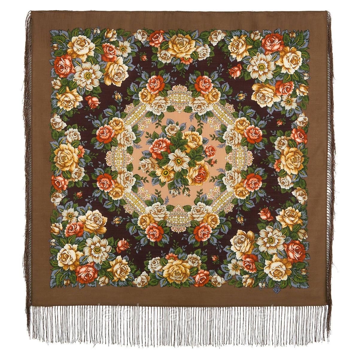 Город роз 1825-16, павлопосадский платок шерстяной  с шелковой бахромой