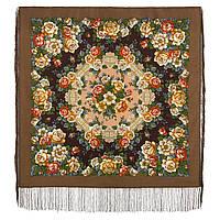 Город роз 1825-16, павлопосадский платок шерстяной  с шелковой бахромой, фото 1