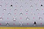 Лоскут ткани с кроликами в цилиндрах на сером фоне, № 1007, размер 40*102см, фото 2