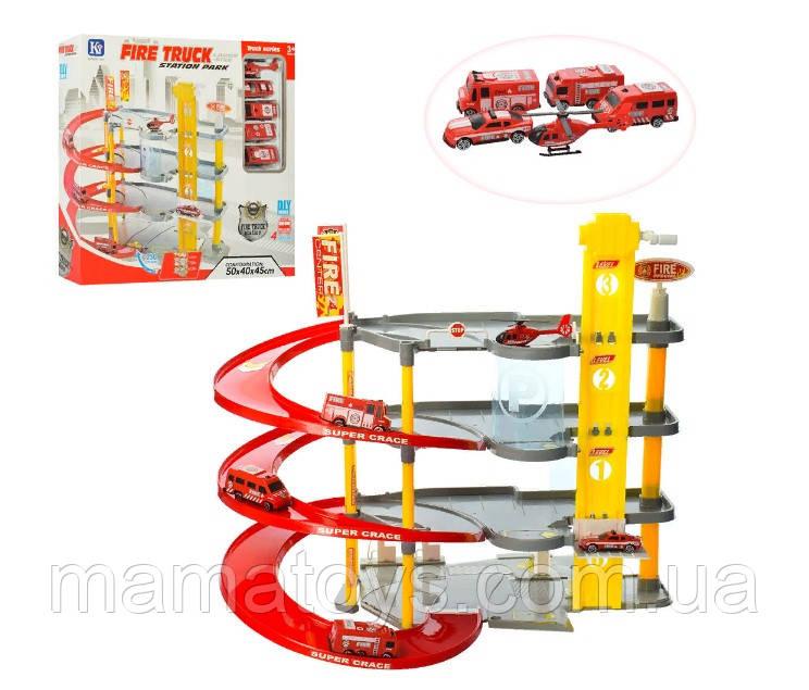 Игрушка Парковка Гараж 8802-5 Пожарная 4 этажа, лифт, 50-40-45 см, транспорт 5 шт,