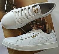 Кросівки кеди Puma classic дитячі з білої натуральної шкіри для дівчаток і хлопчиків! підліткові кеди пума