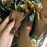 Город роз 1825-16, павлопосадский платок шерстяной  с шелковой бахромой, фото 3