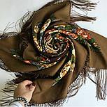 Город роз 1825-16, павлопосадский платок шерстяной  с шелковой бахромой, фото 6