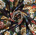 Город роз 1825-16, павлопосадский платок шерстяной  с шелковой бахромой, фото 9