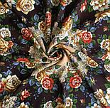 Город роз 1825-16, павлопосадский платок шерстяной  с шелковой бахромой, фото 5
