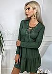 Женское платье из тонкого замша со шнуровкой (в расцветках), фото 3