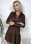 Женское платье из тонкого замша со шнуровкой (в расцветках), фото 4