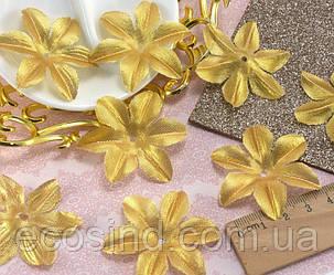 (10 ГРАММ ≈130 шт) Заготовка для цветка, пресс Ø48мм (Люрекс) Цвет - Золото