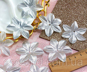 (10 ГРАММ ≈130 шт) Заготовка для цветка, пресс Ø48мм (Люрекс) Цвет - Серебро
