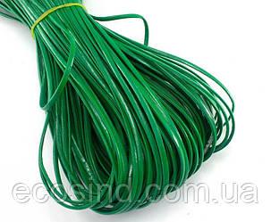 (10 метров) Плоский глянцевый шнур  2 мм ширина, цена за моток, (экокожа)  Цвет - Зелёный (сп7нг-0405)
