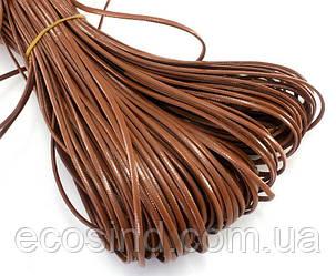 (10 метров) Плоский глянцевый шнур  2 мм ширина, цена за моток, (экокожа)  Цвет - Молочный шоколад (сп7нг-0404)