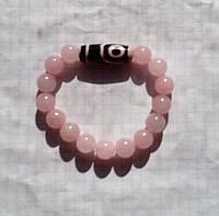 Браслет натуральный Розовый Кварц диаметр 10 мм с бусиной Дзи 2 глаза Любовь