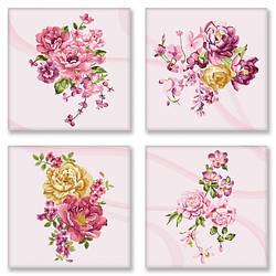 Картина по номерам. Полиптих Квіткова ніжність   4шт 18x18, Идейка