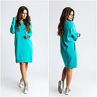 """Прямое трикотажное платье-туника """"Brooks"""" с карманами и длинным рукавом (3 цвета)"""