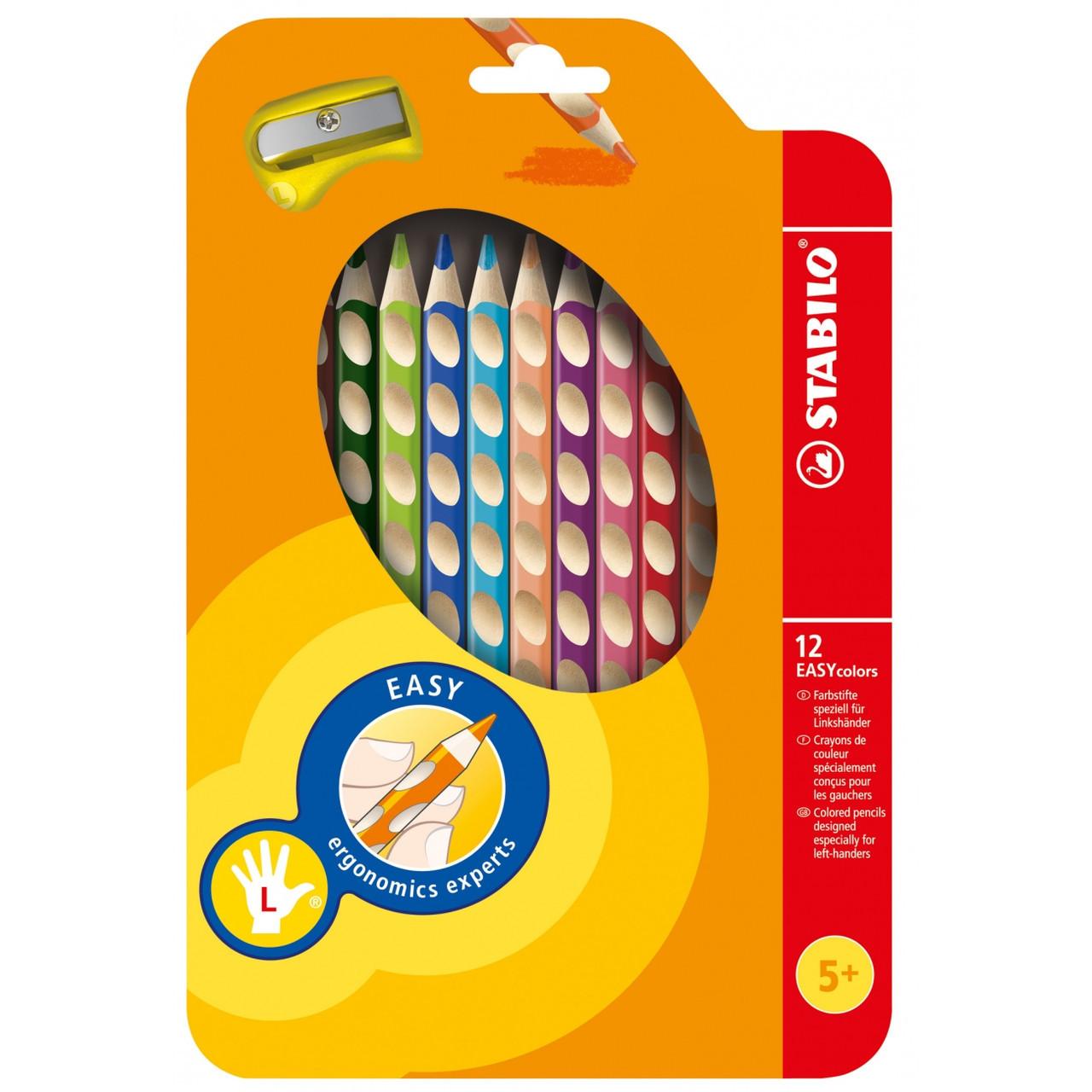 Карандаши 12 цветов для левши с точилкой STABILO EASYcolors 331/12