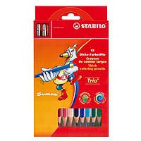 Карандаши 12 цветов с точилкой STABILO Trio 203/2-12
