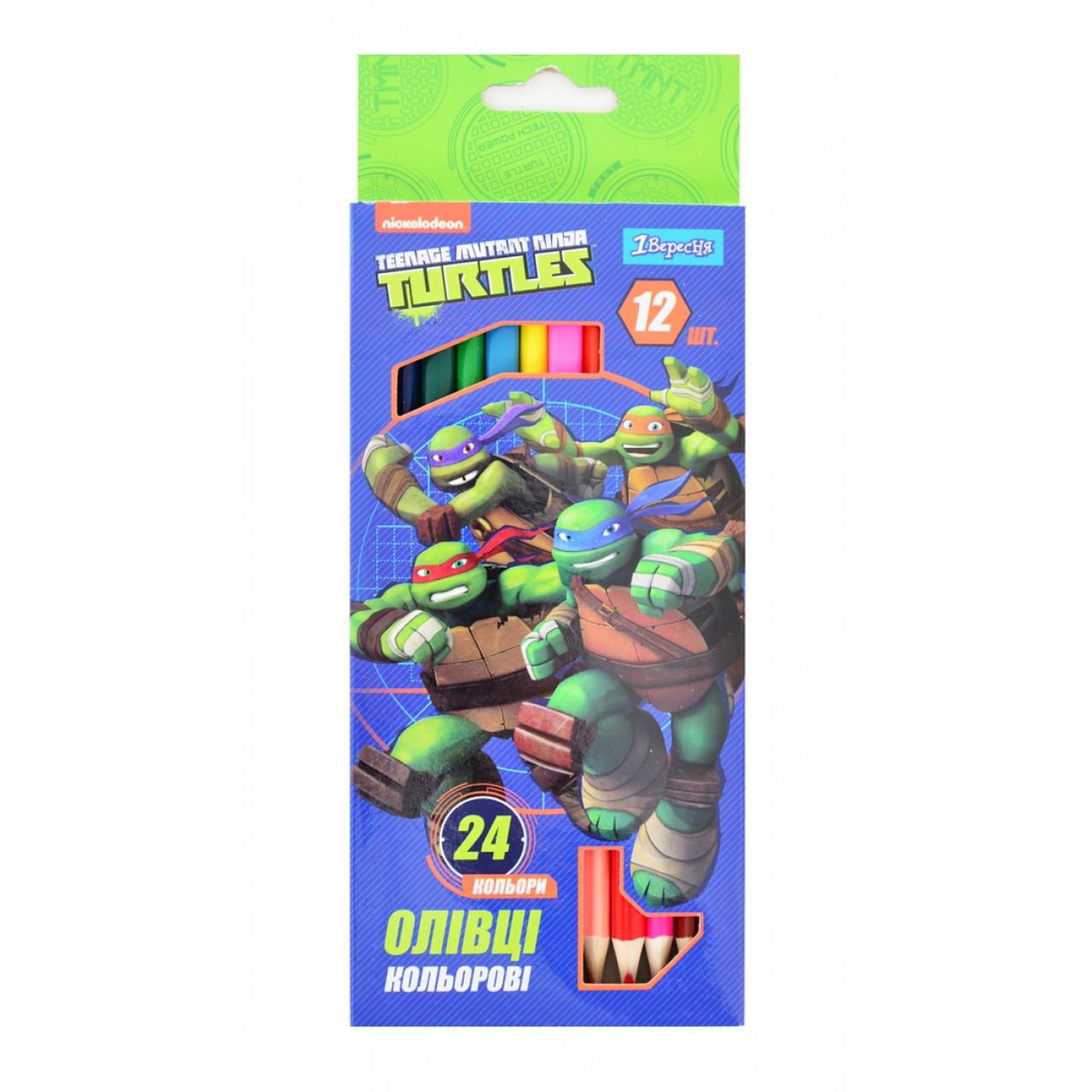 "Карандаши 12штук/24  цвета ""Ninja Turtles"""