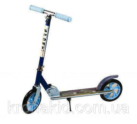 Самокат детский ГОЛУБОЙ BT-KS-0169 TILLY двухколесный алюминиевый, PU колеса 200мм, складной, руль 102-110 см
