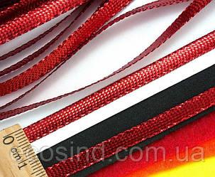 (100 метров) Шнур плоский металлизированный (5 мм ширина)  Цвет - Красный (сп7нг-0424)