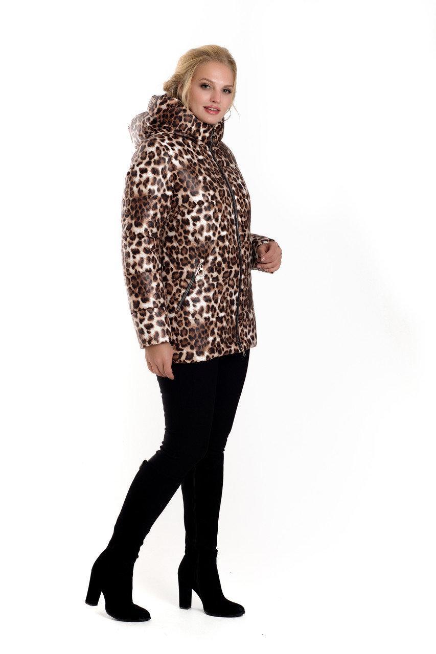Зимняя женская куртка без меха 42-54 леопардовый принт