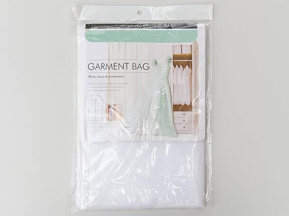 Чохол для зберігання одягу плащівка біло-прозорого кольору. Розмір 60х110 см, фото 2