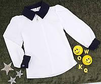 Детская блуза с длинным рукавом, р. 116-134, белый+темно синий, фото 1