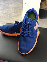 Мужские летние кроссовки Nike Roshe run ярко синего цвета с оранжевой подошвой