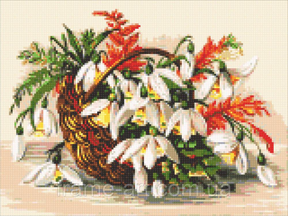 Алмазная вышивка DM-314 Цветы в лукошке 40*30см